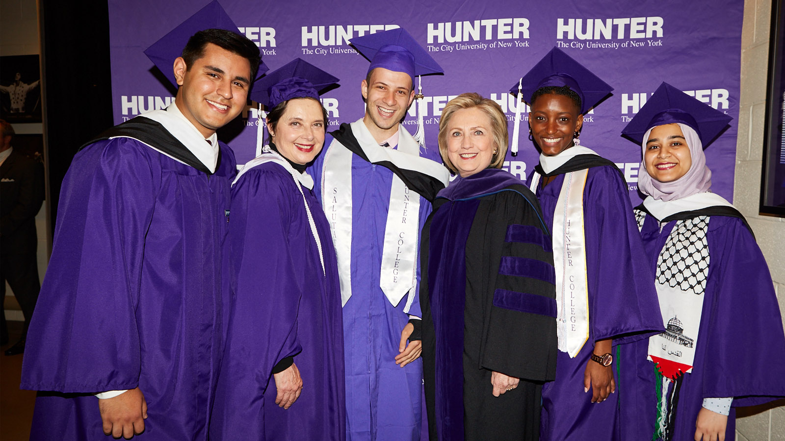Hillary Clinton and Isabella Rossellini with Hunter College graduates