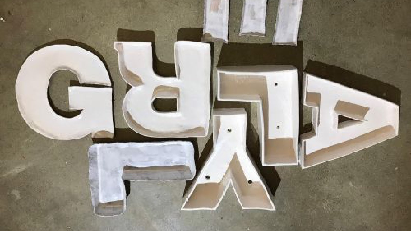 graphic display of 3d letters