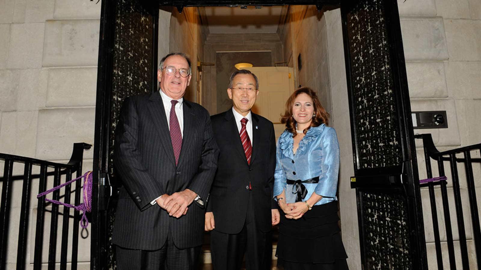 UN Secretary General Ban Ki-moon with President Raab