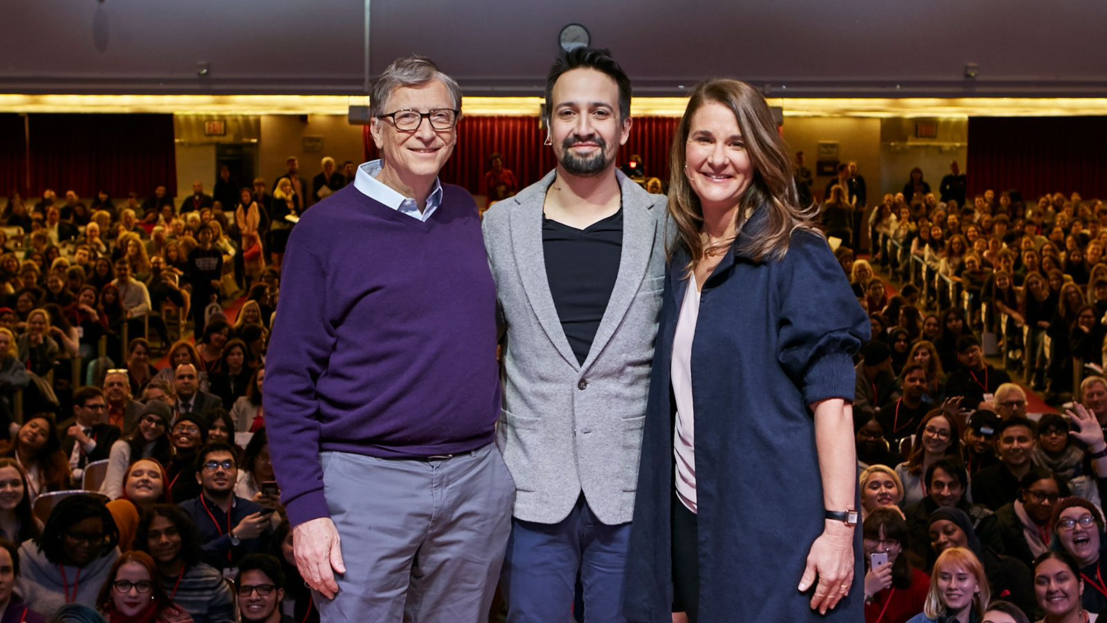 bill and melinda gates pose with lin-manuel miranda