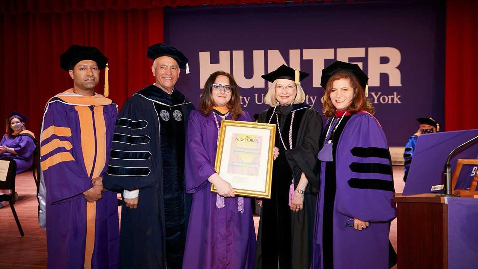 (L-R) Ruben Diaz, Chancellor Félix Matos Rodríguez, Raffaella Eydelman, Dean Gail McCain, President Jennifer J. Raab.