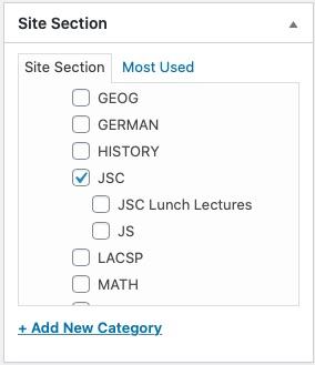 screenshot of site section module in wordpress cms