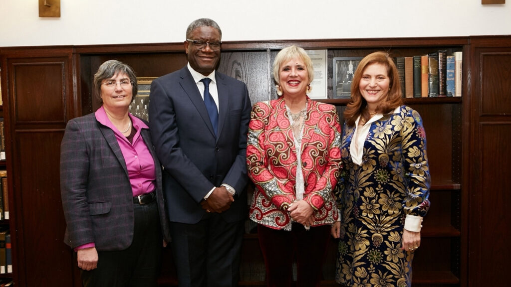 (From Left) Jessica Neuwirth, Distinguished Lecturer and Rita E. Hauser Director of the Human Rights Program at Hunter; Nobel Prize winner Dr. Denis Mukwege; American Playwright Eve Ensler; and Hunter College President Jennifer J. Raab.