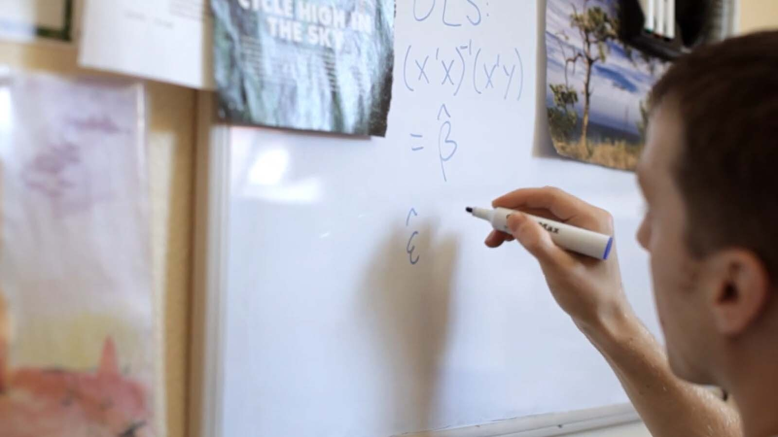 Student solving equations