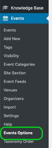 Screenshot of WordPress left navigation with 'Events Options' circled.