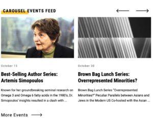 screenshot of carousel events feed module