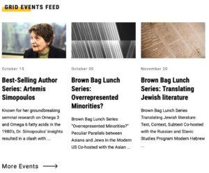 screenshot of grid events feed module