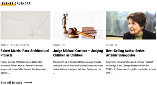 Screenshot of events module on Hunter homepage