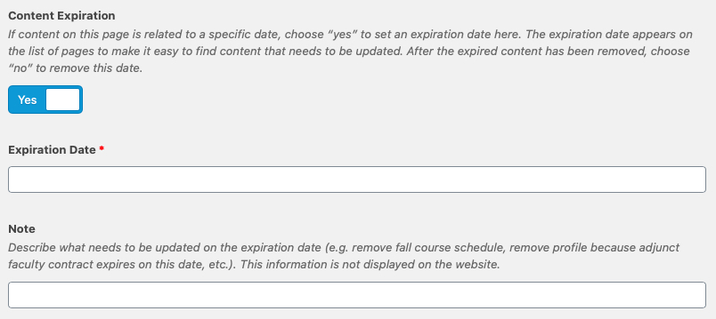 screenshot of content expriation