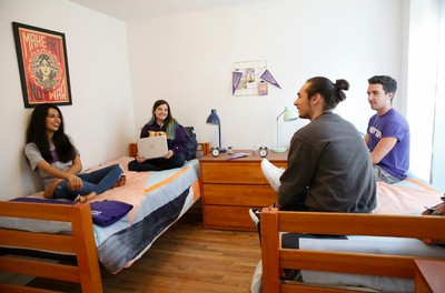 Hunter students talking in dorm room