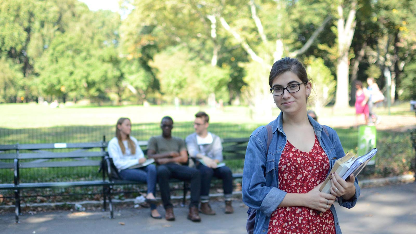 students in central park