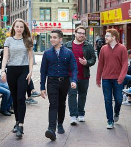 hunter students on nyc sidewalk