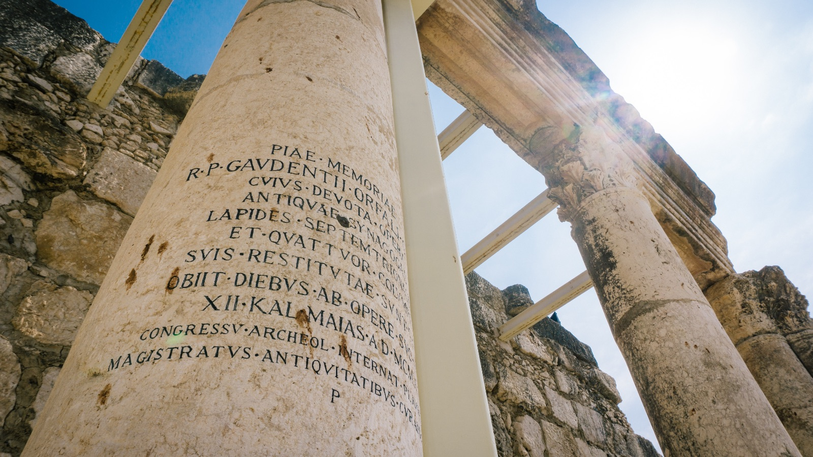 Ancient Columns in Capernaum, Israel