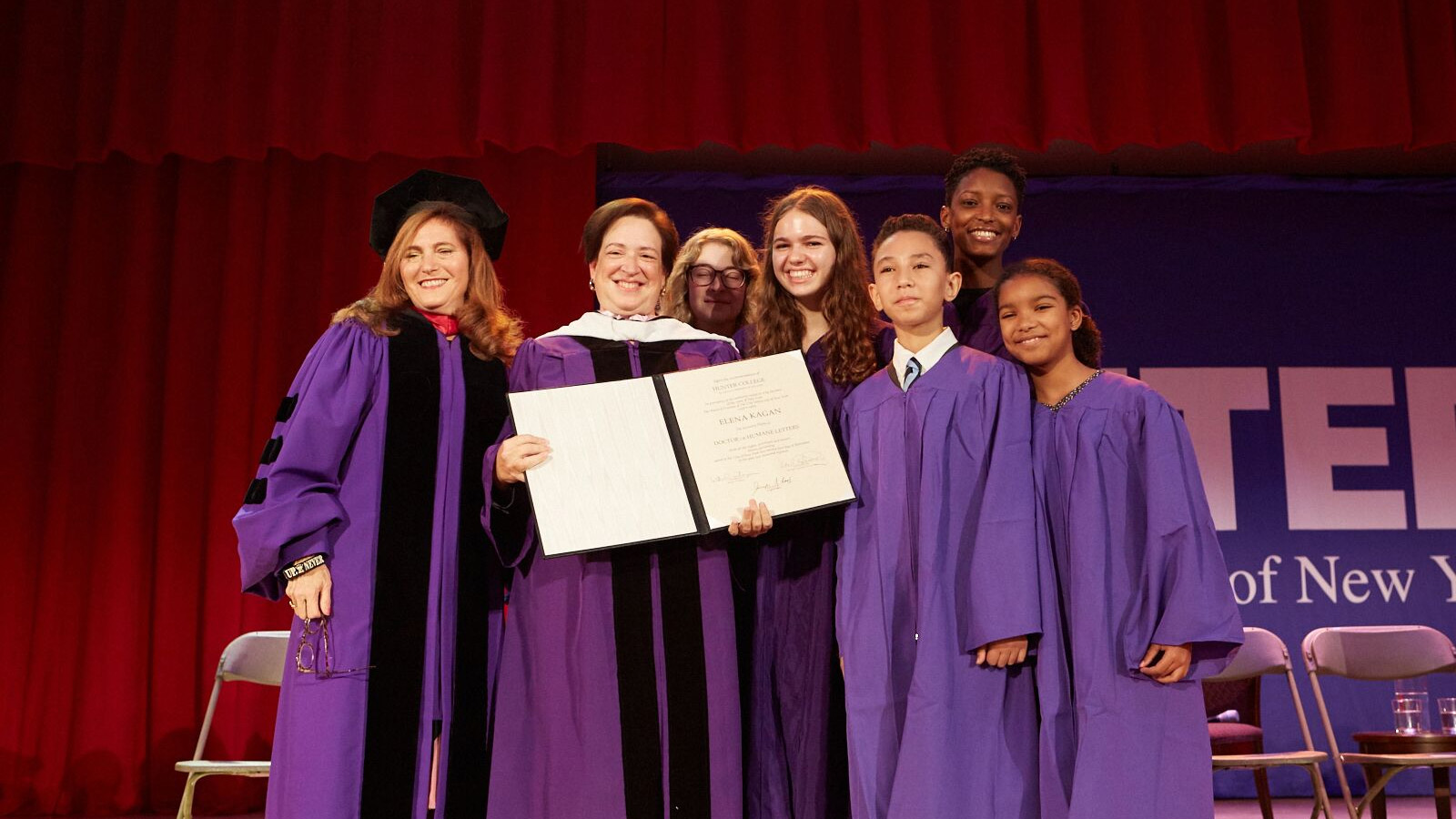 Supreme Court Justice Elena Kagan with students after receiving the honorary Doctorate of Humane Letters