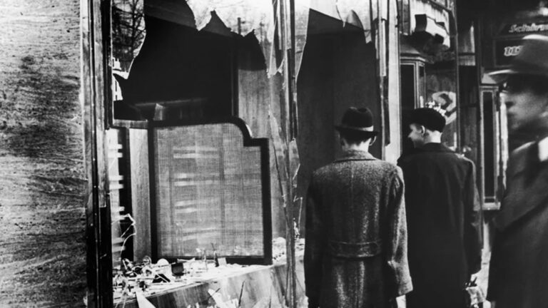 View of a destroyed Jewish shop in Berlin on Nov. 11, 1938, after the anti-Semitic violence of Kristallnacht. The pogrom unleashed Nazi-coordinated attacks on thousands of synagogues and Jewish businesses.