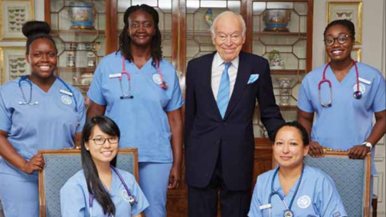 Leonard A. Lauder with nursing students
