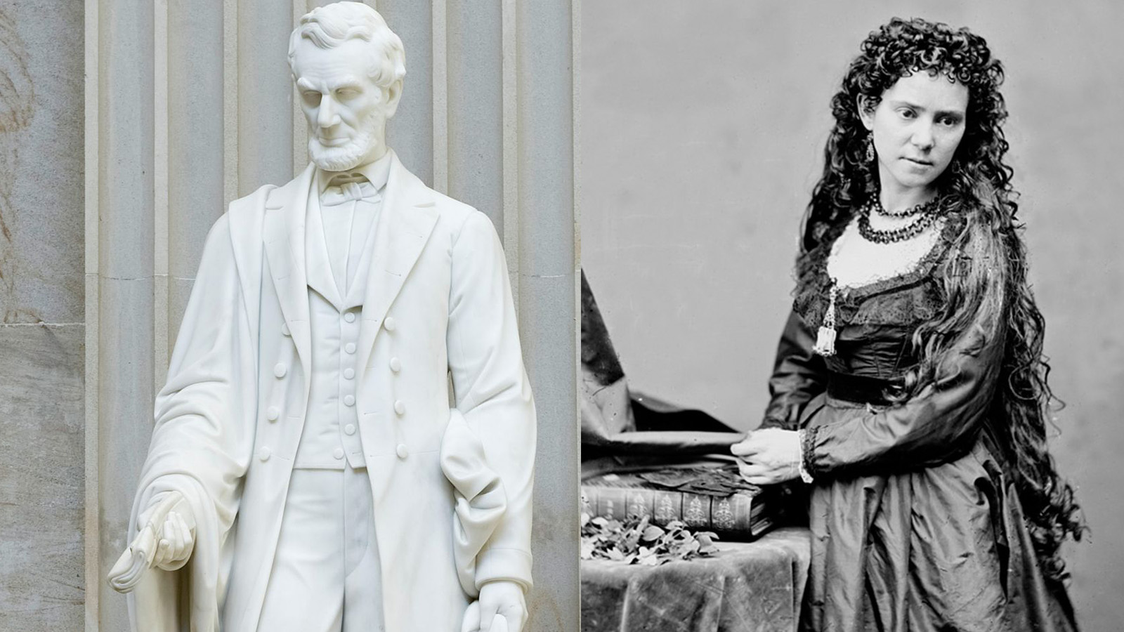 Sculptor Vinnie Ream, right, and her statue of Lincoln that stands in the U.S. Capitol.