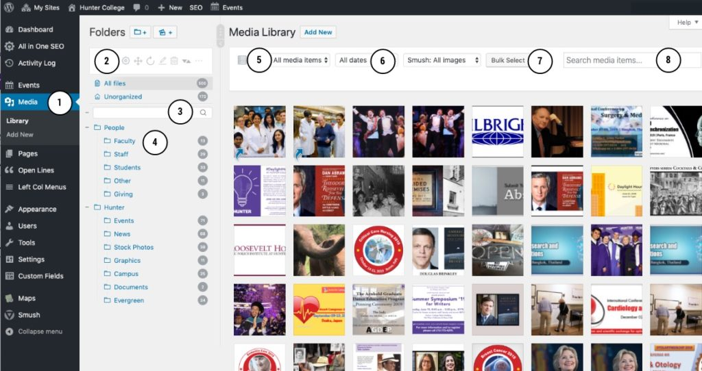 WordPress media library screenshot annotated