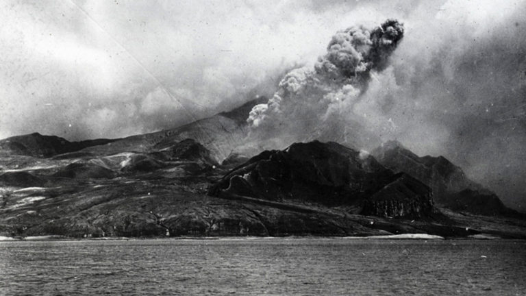 Photograph documenting the eruption of the volcano Mount Pelée in Martinique, 1902