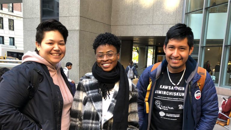 Mellon Humanities students in front of Hunter main entrance