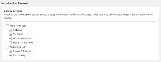 Screenshot of News Landing Carousel options in wordpress cms