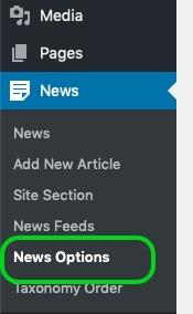 Screenshot of WordPress left navigation with 'News Options' circled.