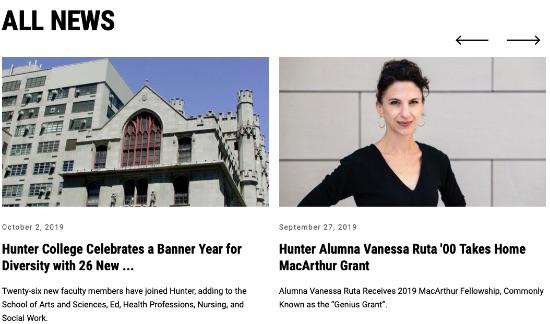 screenshot of Hunter news carousel for All News
