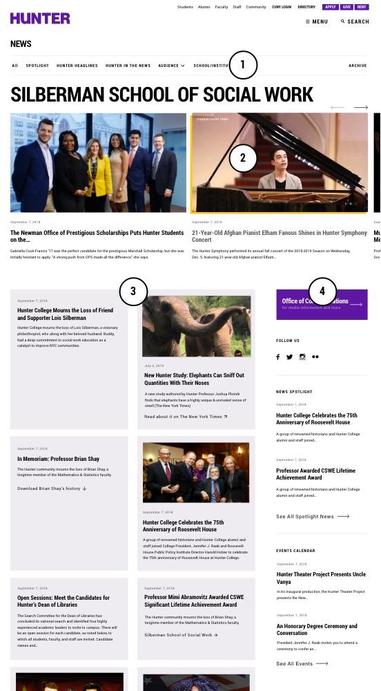 Annotated screenshot of Hunter news landing page