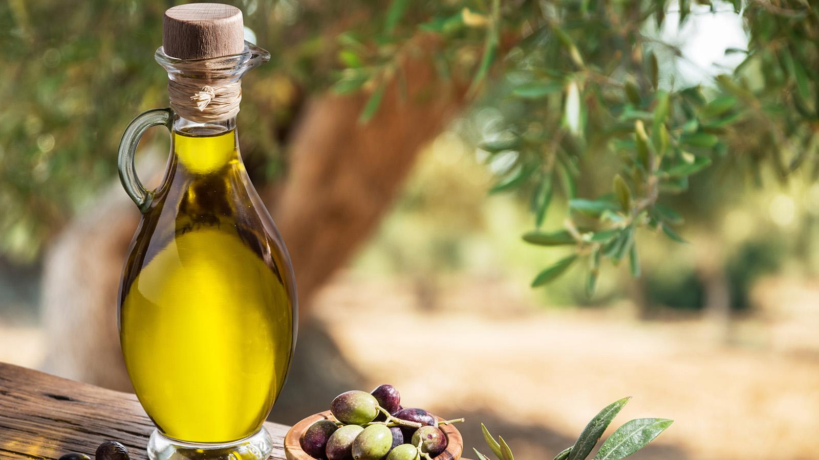 A bottle of extra virgin olive oil