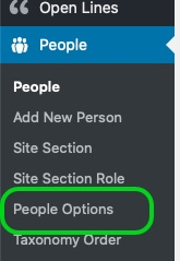 screenshot of people profile page configuration options