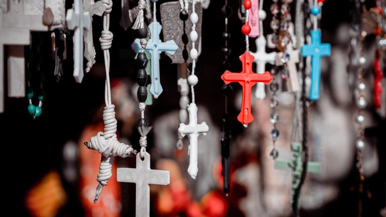 random crosses hanging