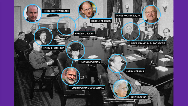 President Franklin D. Roosevelt and his cabinet paired with photos of their descendants
