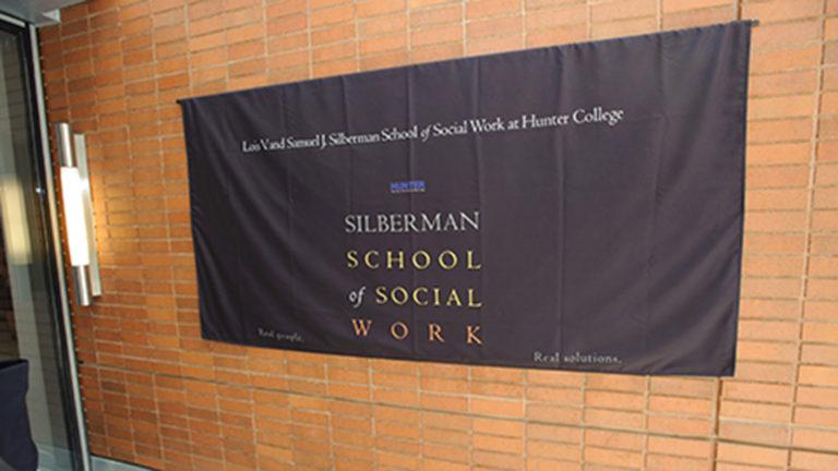 silberman school of social work banner on wall