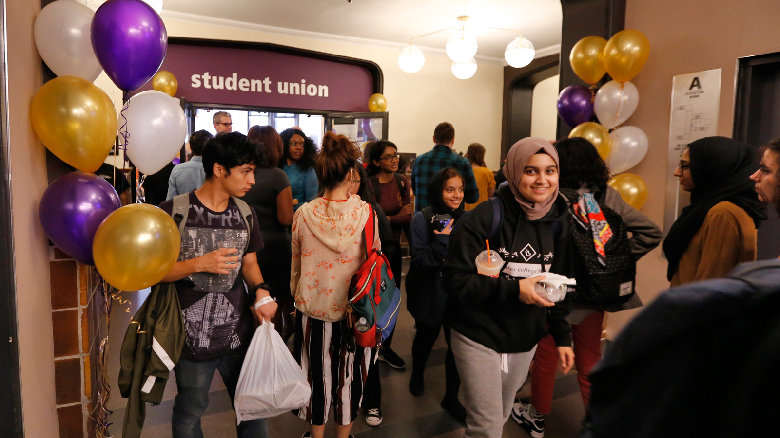 Students outside the new Student Union