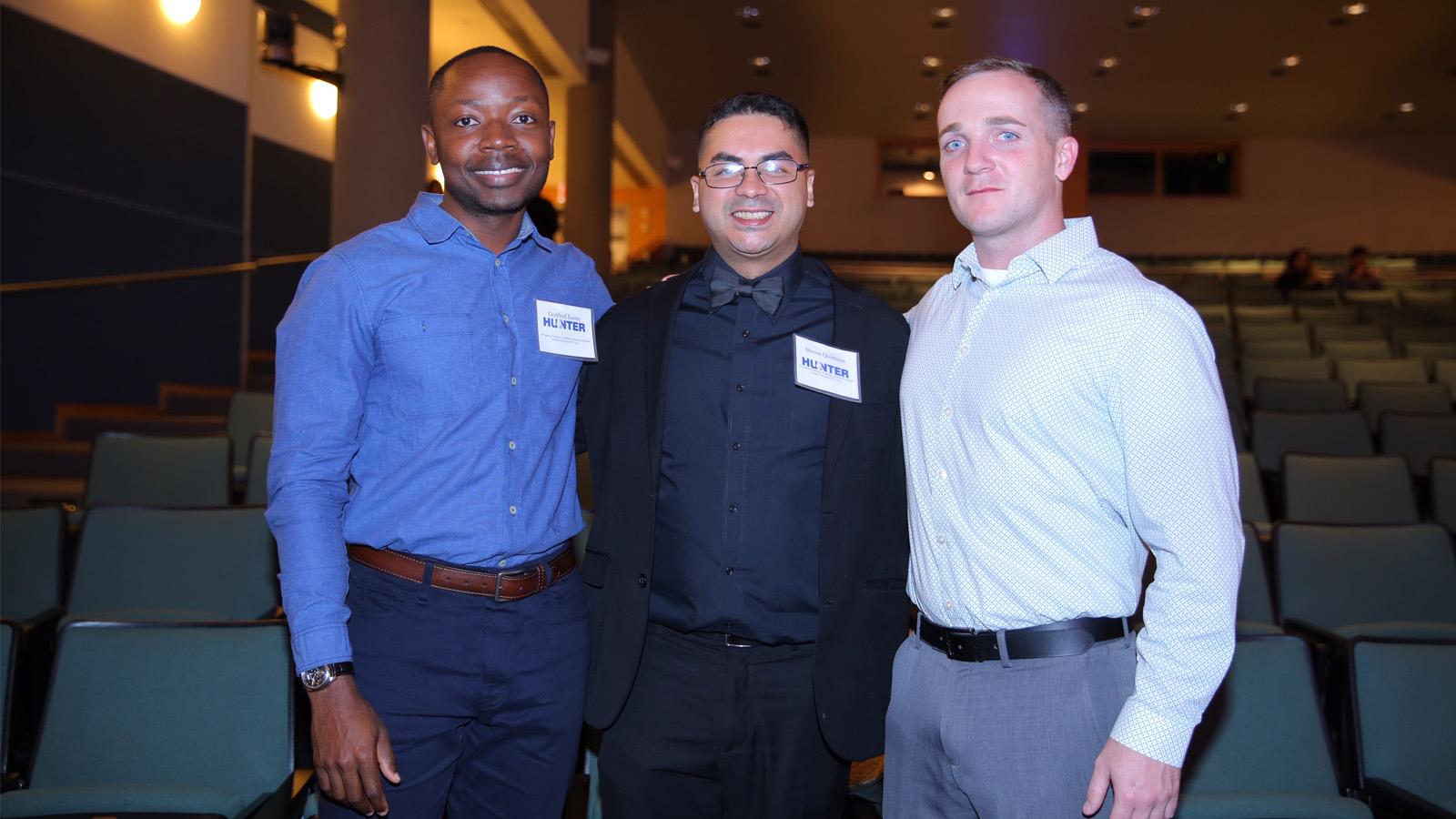Hunter Student Veterans: Godfred Essim, Steven Quintana, and Thomas Joy