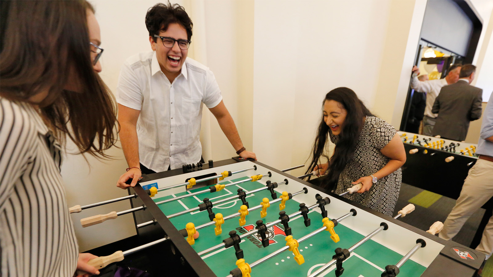 Students playing fussball