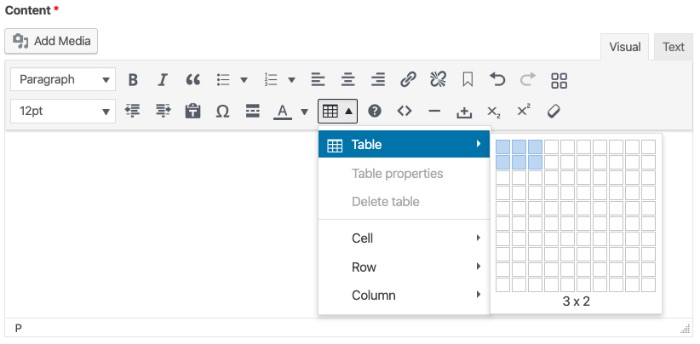 screenshot of where to insert table in cms