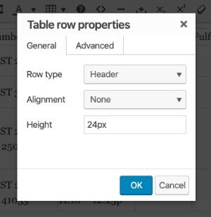 Table row properties module screenshot