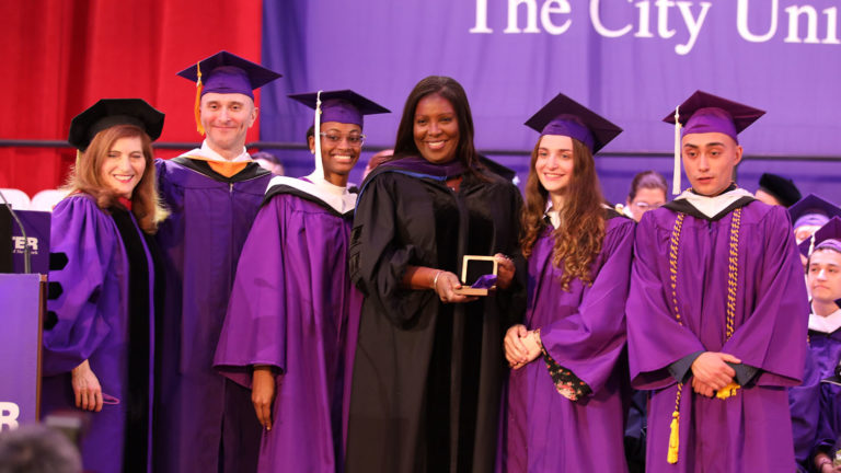 NY State Attorney General Tish James is awarded the President's Medal at Hunter's 220th commencement.