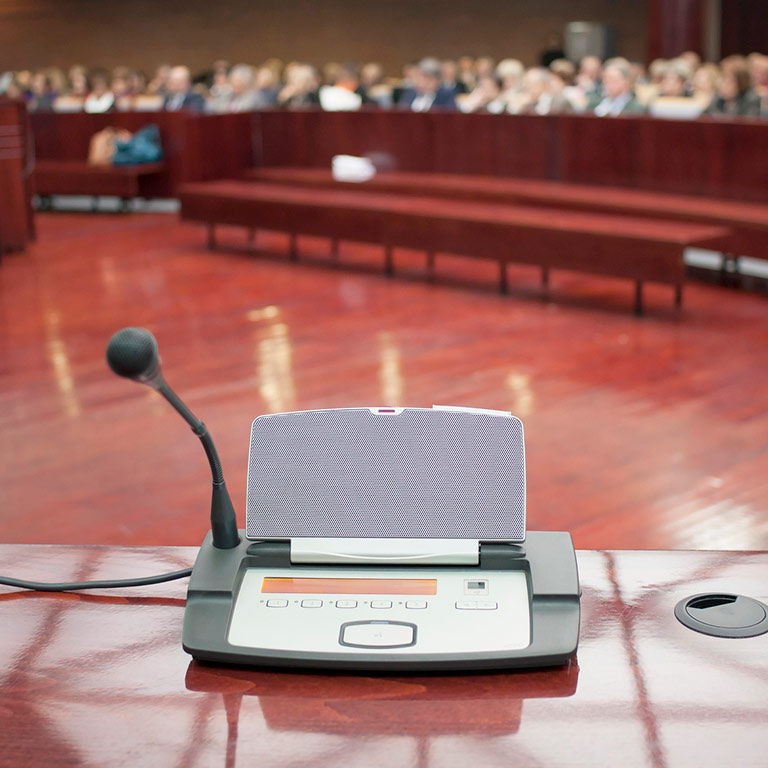 translation machine in courtroom
