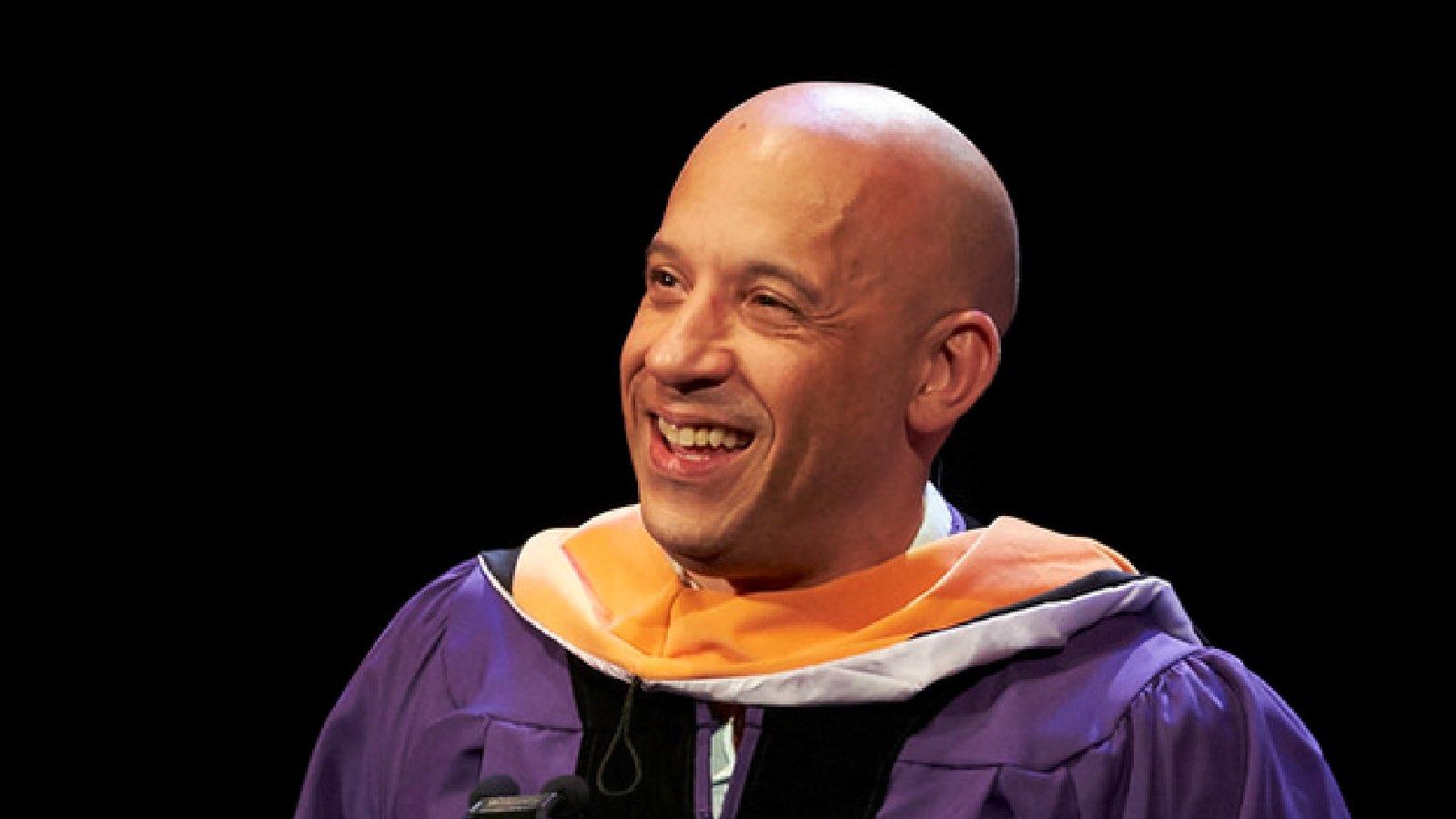 Vin Diesel giving the commencement speech