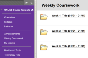 Online Course Template - Weekly Coursework