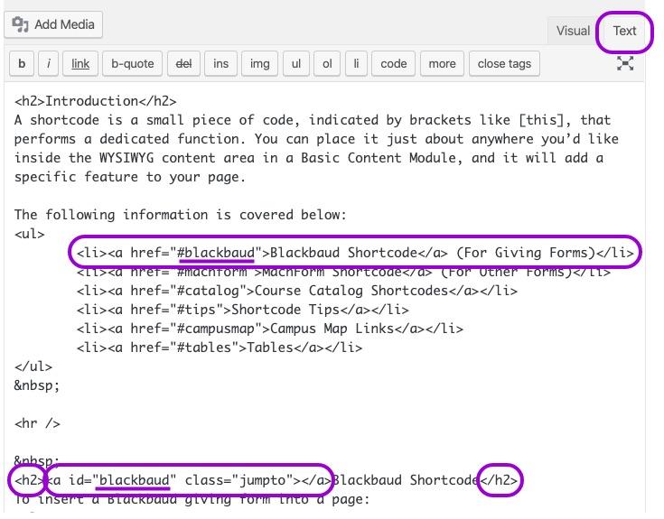 jump links cms screenshot